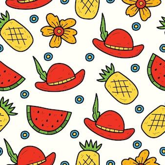 Hand drawn summer cartoon kawaii doodle seamless pattern design