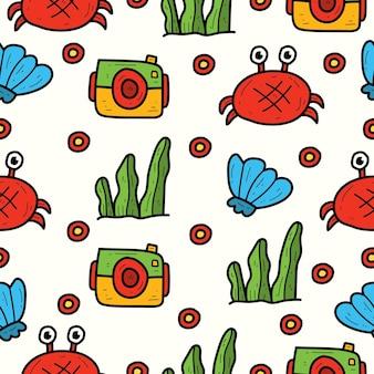 손으로 그린 여름 만화 귀엽다 낙서 원활한 패턴 디자인