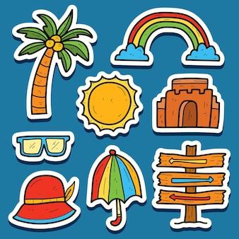 손으로 그린 여름 만화 귀엽다 낙서 스티커 디자인