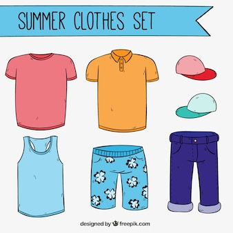 Hand drawn summer clothes set