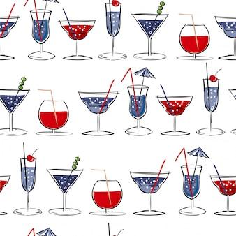Hand drawn summer cocktail seamless pattern