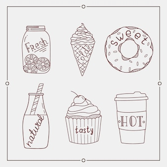 Hand drawn summer desserts and drink elements.