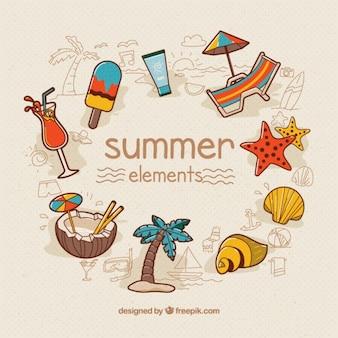 手描き夏の要素のコレクション