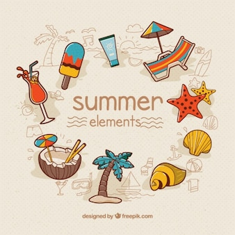 Hand drawn summer element collection Premium Vector