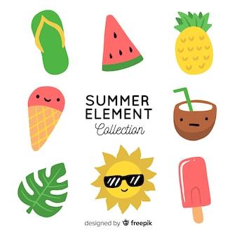 손으로 그린 여름 요소 컬렉션