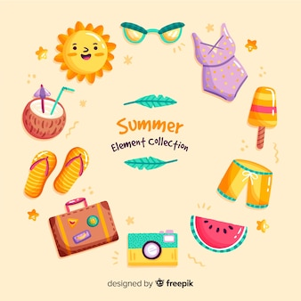 Hand drawn summer element collection