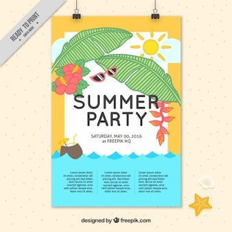 Hand drawn summer elements party poster