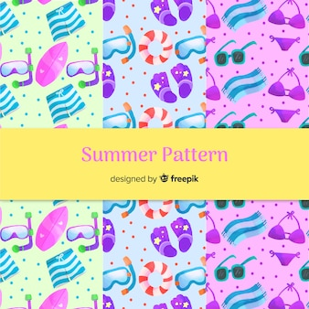 Hand drawn summer elements pattern collection