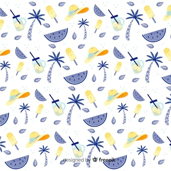 Hand drawn summer elements pattern