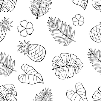 Hand drawn summer elements in seamless pattern on white background