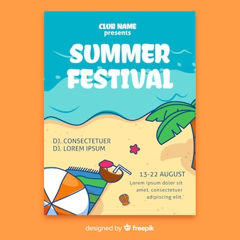 Hand drawn summer festival poster