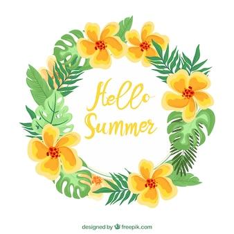 손으로 그린 여름 꽃 왕관