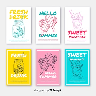 Hand drawn summer food card pack