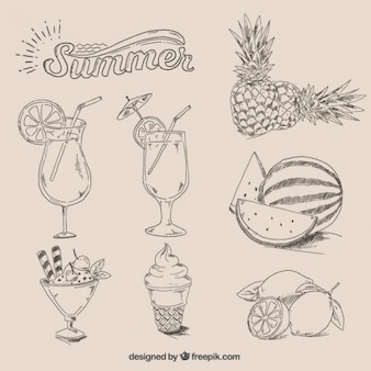 Hand drawn summer food