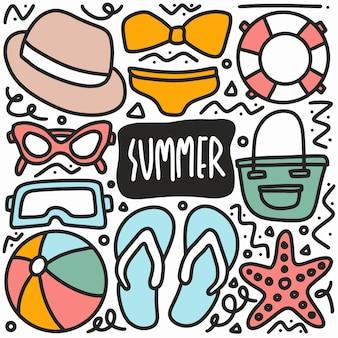 손으로 그린 여름 휴가 낙서 아이콘 및 디자인 요소 설정