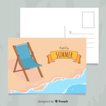 Нарисованный рукой шаблон открытки летнего отпуска Бесплатные векторы
