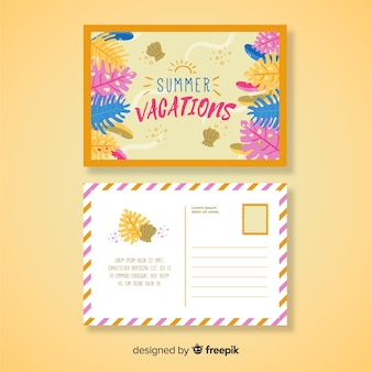 Hand drawn summer holiday postcard template