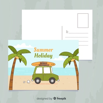 Hand drawn summer holiday postcard