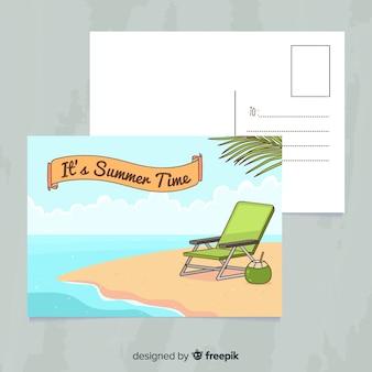 Hand drawn summer holiday postcard