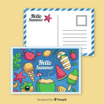 Нарисованная от руки летняя праздничная открытка
