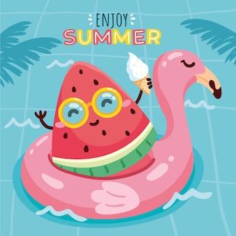 손으로 그린 여름 그림