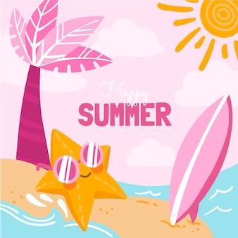 Нарисованная рукой летняя иллюстрация
