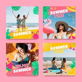 写真付きの手描きの夏のinstagramの投稿コレクション