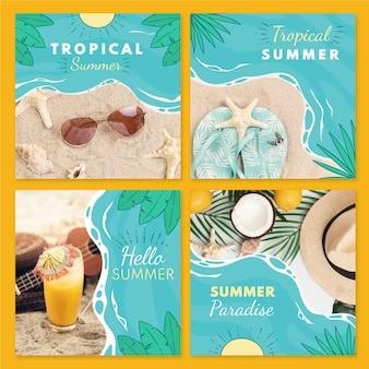 Коллекция рисованной летних постов instagram с фото