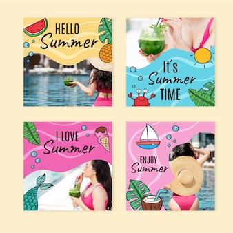 Hand drawn summer instagram posts collection with photo