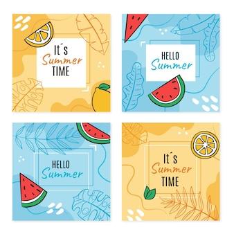 Raccolta di post di instagram estivi disegnati a mano
