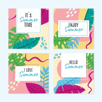 Hand drawn summer instagram posts collection