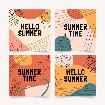 Hand drawn summer instagram posts collection