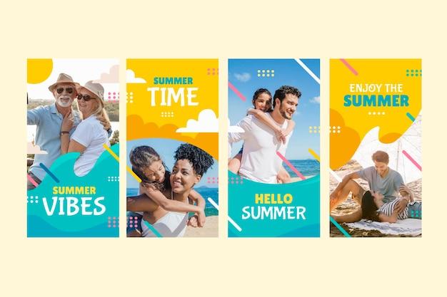 Коллекция рисованной летних историй instagram с фото