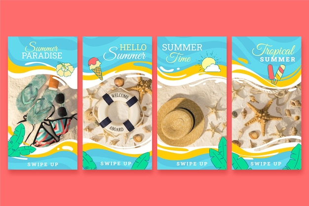 Hand drawn summer instagram stories collection with photo