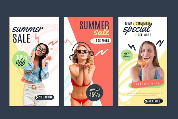 Raccolta di storie di instagram estive disegnate a mano con foto