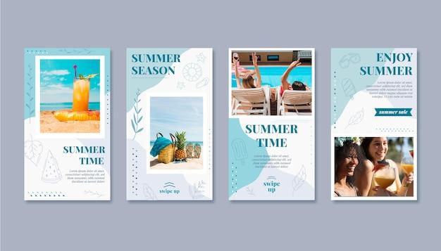 写真付きの手描きの夏のinstagramストーリーコレクション