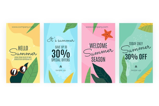 Collezione di storie di instagram estive disegnate a mano