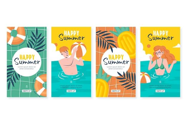 手描きの夏のinstagramストーリーコレクション