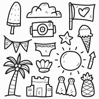 손으로 그린 여름 귀여운 낙서 만화 디자인