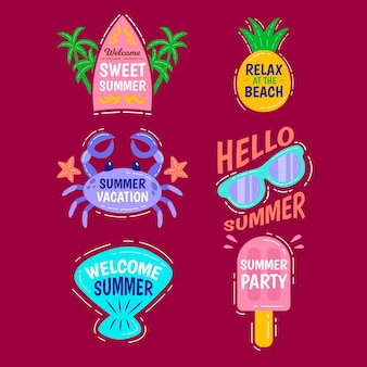 Hand drawn summer labels pack