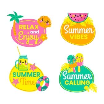 Hand drawn summer labels set