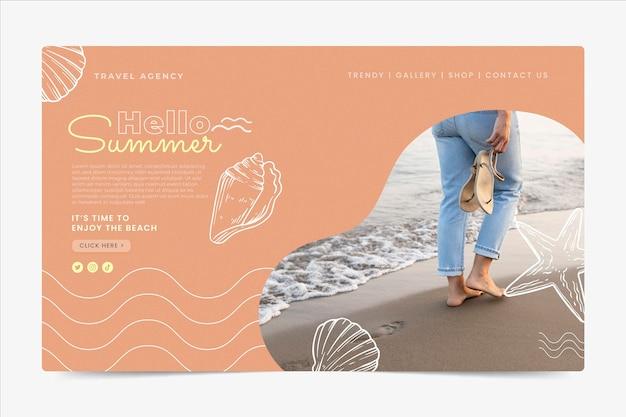 Ручной обращается шаблон летней целевой страницы с фото