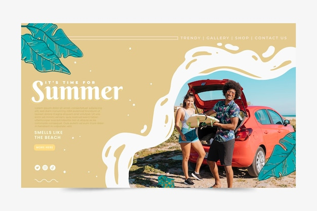 Hand drawn summer landing page template with photo