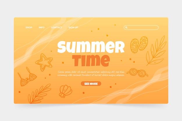 Ручной обращается шаблон летней целевой страницы