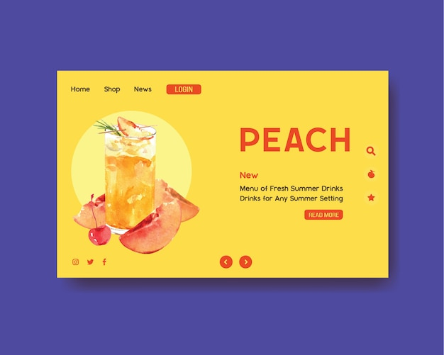 Hand drawn summer landing page template