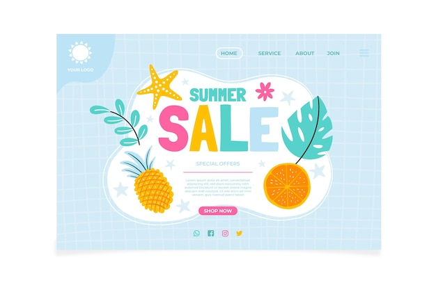 Hand drawn summer landing page