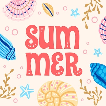 손으로 그린 여름 글자