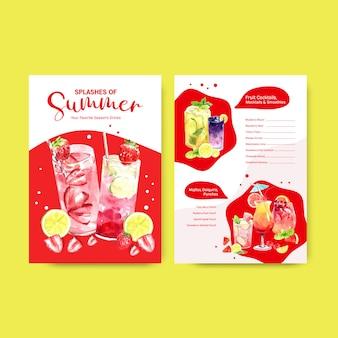Modello di menu estivo disegnato a mano