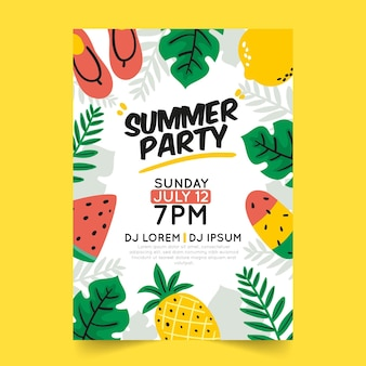 Hand drawn summer party flyer template