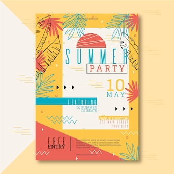 Hand drawn summer party poster template